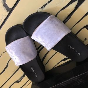 Velvet Slippers Block Heel Slide Ons Sandals
